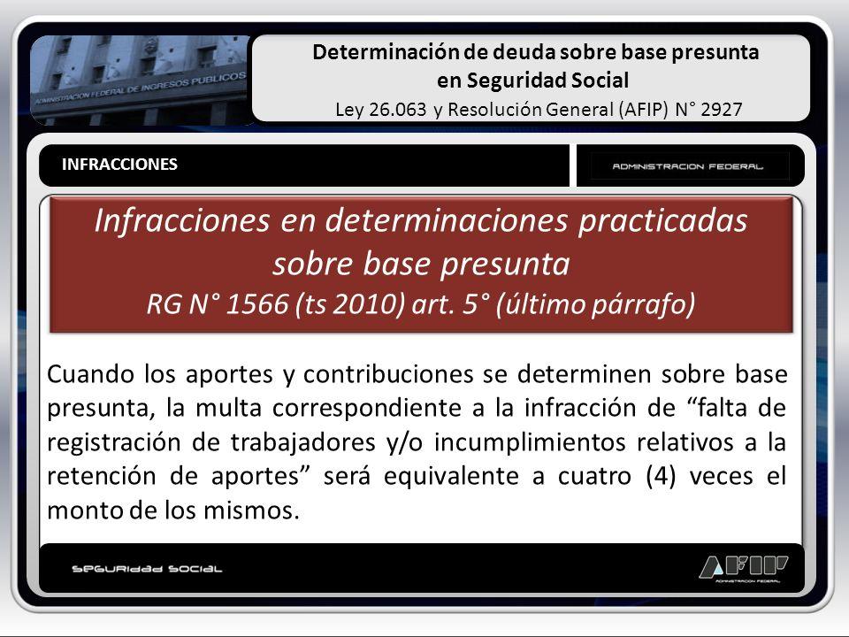 Determinación de deuda sobre base presunta en Seguridad Social Ley 26.063 y Resolución General (AFIP) N° 2927 PRESUNCIONES LEGALES Infracciones en det