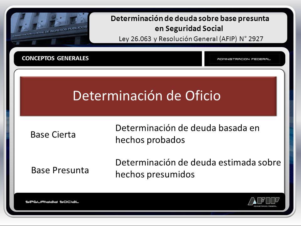 Determinación de deuda sobre base presunta en Seguridad Social Ley 26.063 y Resolución General (AFIP) N° 2927 PRESUNCIONES PARTICULARES PRESUNCIONES LEGALES Presunciones Particulares Aplicación de índices [art.