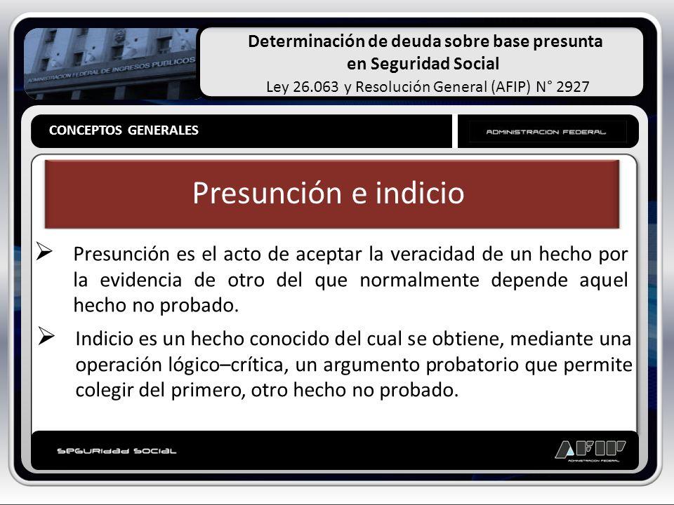 Determinación de deuda sobre base presunta en Seguridad Social Ley 26.063 y Resolución General (AFIP) N° 2927 CONCEPTOS GENERALES Presunción e indicio