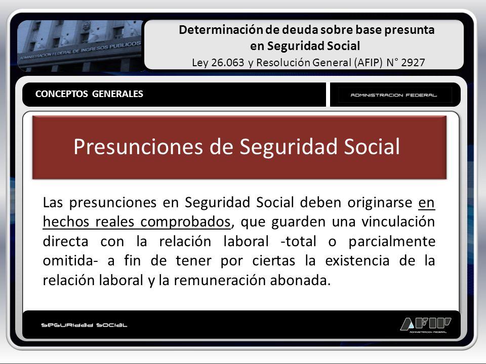 Determinación de deuda sobre base presunta en Seguridad Social Ley 26.063 y Resolución General (AFIP) N° 2927 CONCEPTOS GENERALES Presunciones de Segu