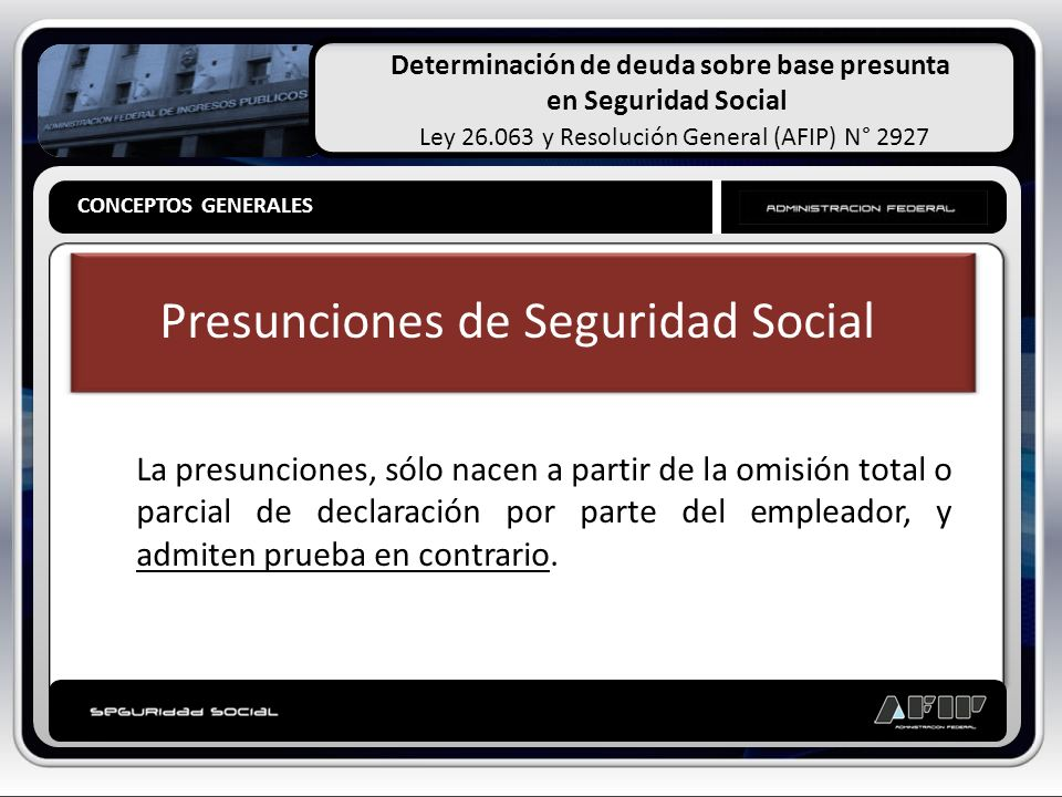 Determinación de deuda sobre base presunta en Seguridad Social Ley 26.063 y Resolución General (AFIP) N° 2927 CONCEPTOS GENERALES Clasificación de las Presunciones Presunciones Simples, Judiciales u Hominis Legales Absolutas Relativas CONCEPTOS GENERALES