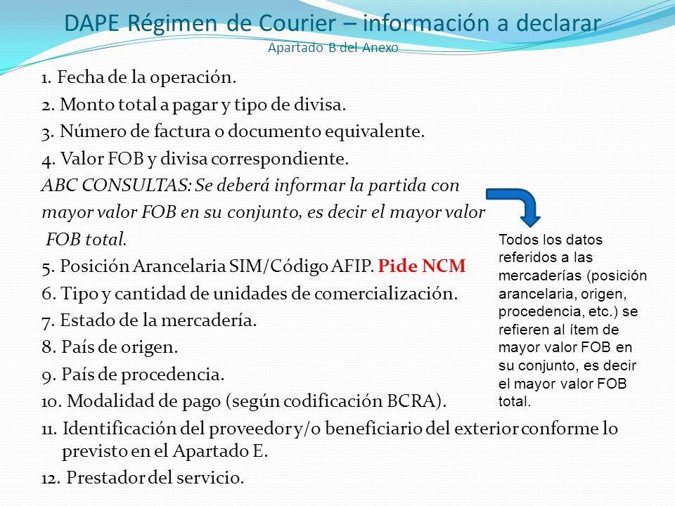 DAPE Régimen de Courier – información a declarar Apartado B del Anexo 1. Fecha de la operación. 2. Monto total a pagar y tipo de divisa. 3. Número de