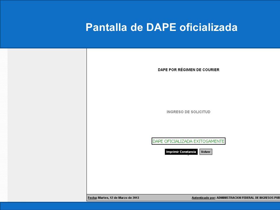 Pantalla de DAPE oficializada