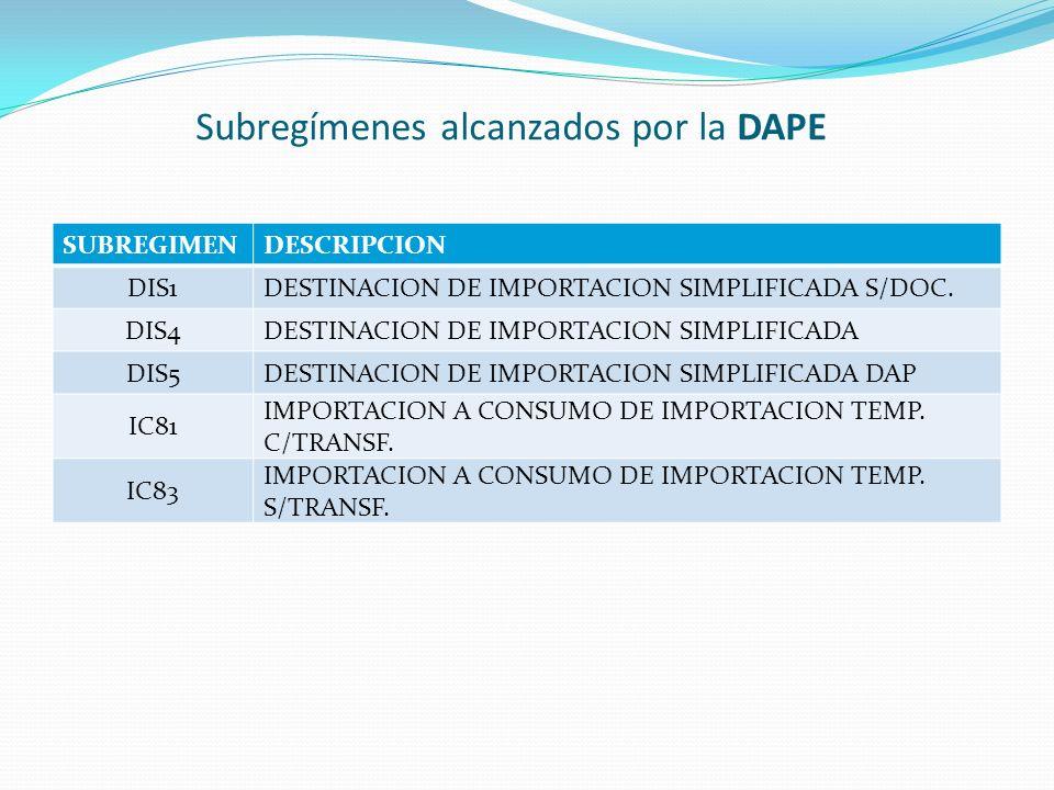 Subregímenes alcanzados por la DAPE SUBREGIMENDESCRIPCION DIS1DESTINACION DE IMPORTACION SIMPLIFICADA S/DOC. DIS4DESTINACION DE IMPORTACION SIMPLIFICA