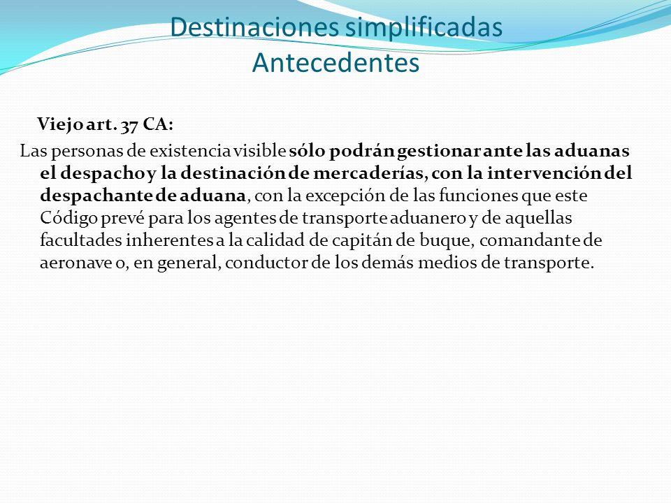 Viejo art. 37 CA: Las personas de existencia visible sólo podrán gestionar ante las aduanas el despacho y la destinación de mercaderías, con la interv