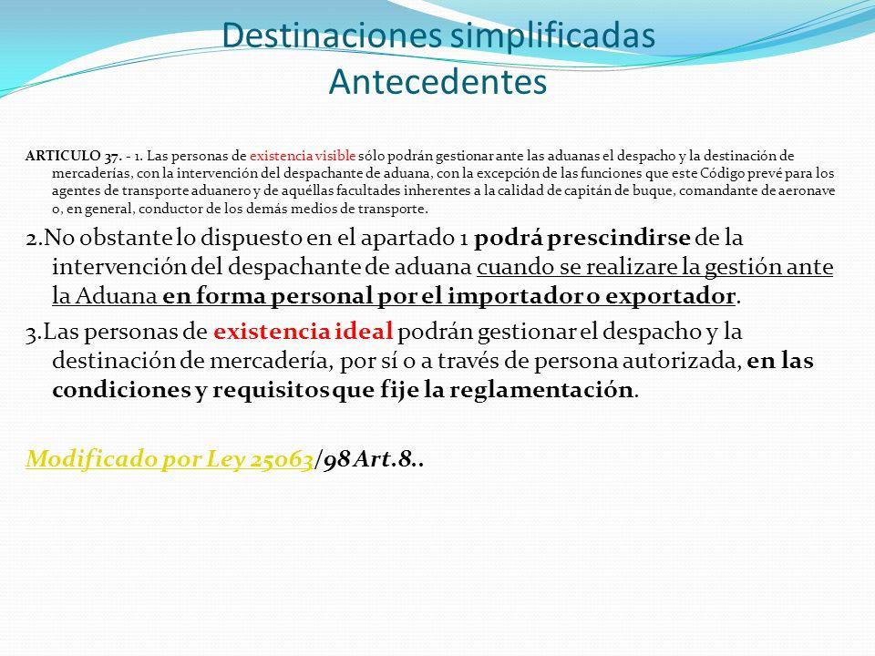 ARTICULO 37. - 1. Las personas de existencia visible sólo podrán gestionar ante las aduanas el despacho y la destinación de mercaderías, con la interv