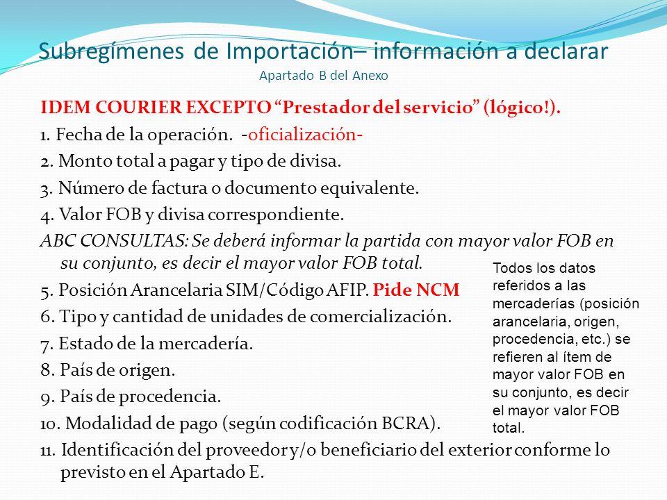 Subregímenes de Importación– información a declarar Apartado B del Anexo IDEM COURIER EXCEPTO Prestador del servicio (lógico!). 1. Fecha de la operaci
