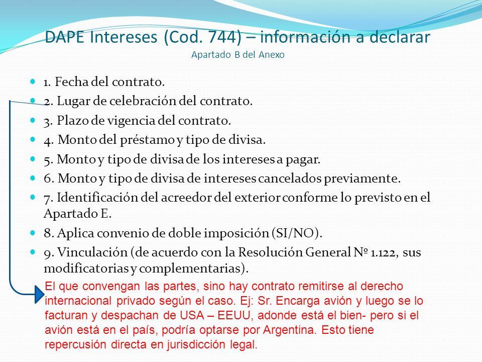 DAPE Intereses (Cod. 744) – información a declarar Apartado B del Anexo 1. Fecha del contrato. 2. Lugar de celebración del contrato. 3. Plazo de vigen