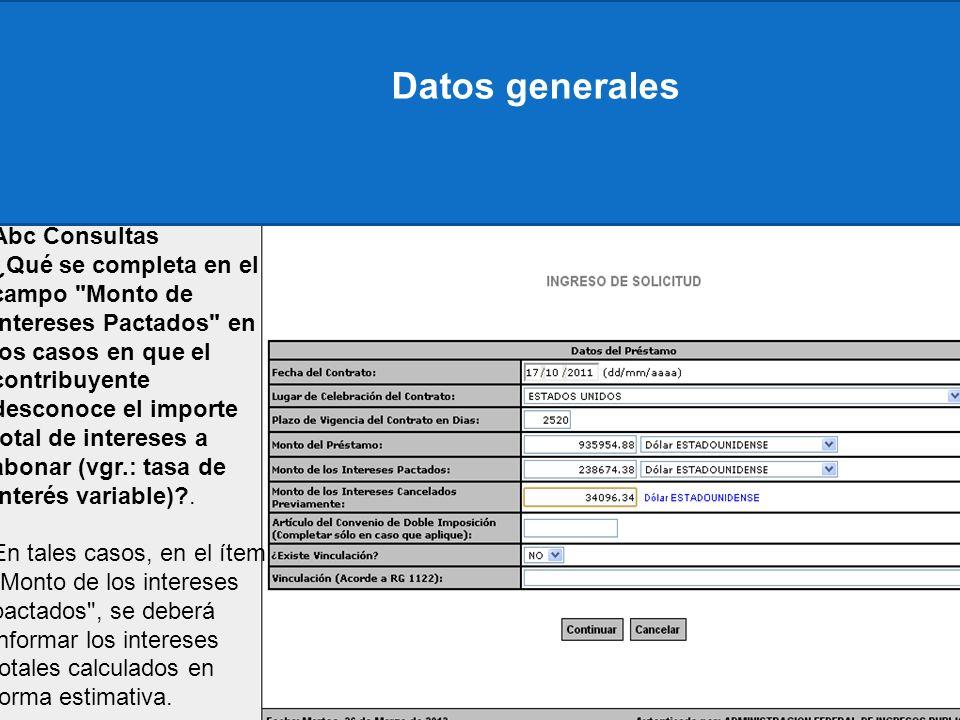 Datos generales Abc Consultas ¿Qué se completa en el campo