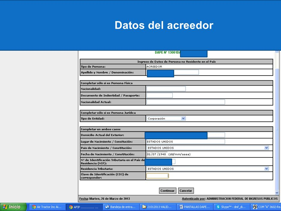 Datos del acreedor