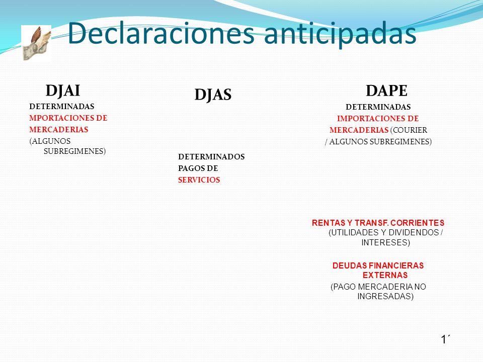 DJAI DETERMINADAS MPORTACIONES DE MERCADERIAS (ALGUNOS SUBREGIMENES) Declaraciones anticipadas 1´ DJAS DETERMINADOS PAGOS DE SERVICIOS DAPE DETERMINAD