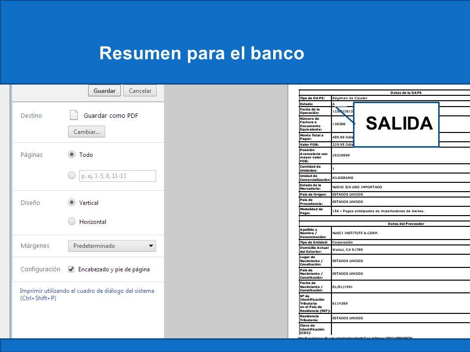 ConstanciaResumen para el banco SALIDA