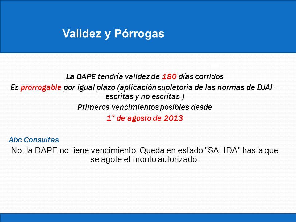 ConstanciaValidez y Pórrogas La DAPE tendría validez de 180 días corridos Es prorrogable por igual plazo (aplicación supletoria de las normas de DJAI