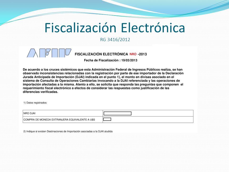 Fiscalización Electrónica RG 3416/2012