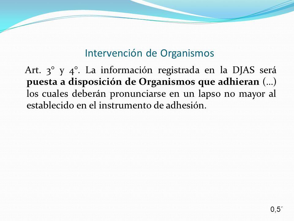 Art. 3° y 4°. La información registrada en la DJAS será puesta a disposición de Organismos que adhieran (…) los cuales deberán pronunciarse en un laps