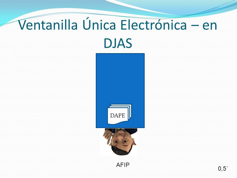 Ventanilla Única Electrónica – en DJAS AFIP DAPE 0,5´