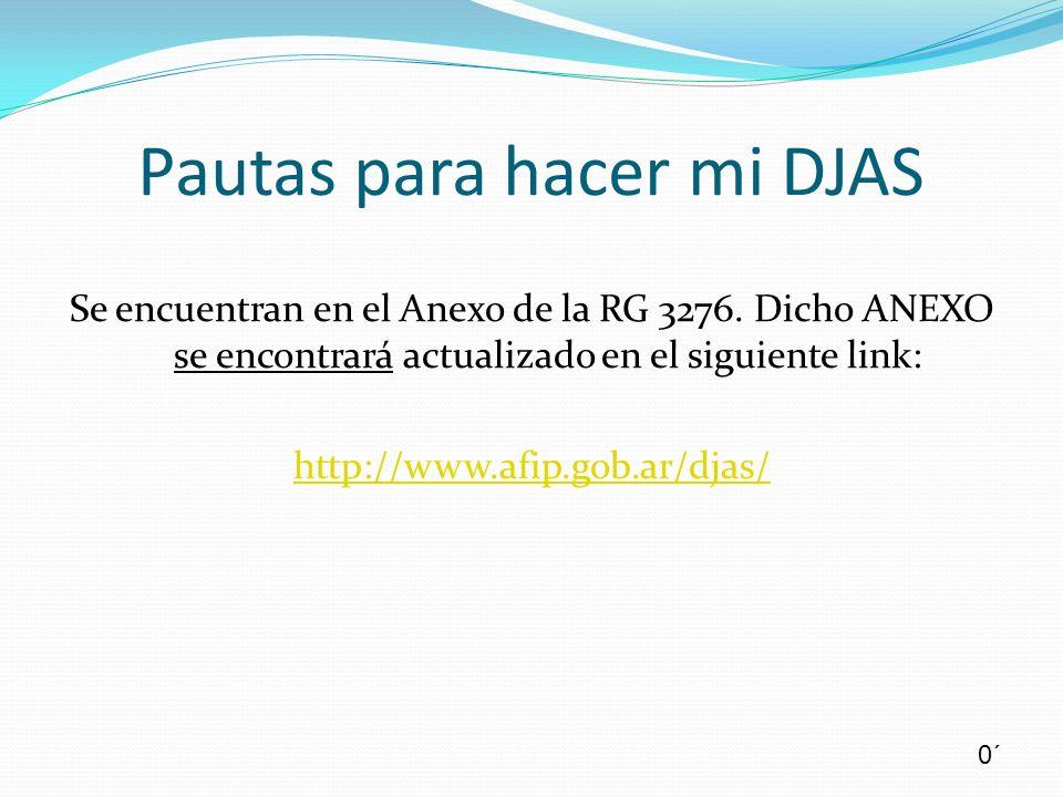 Se encuentran en el Anexo de la RG 3276. Dicho ANEXO se encontrará actualizado en el siguiente link: http://www.afip.gob.ar/djas/ Pautas para hacer mi