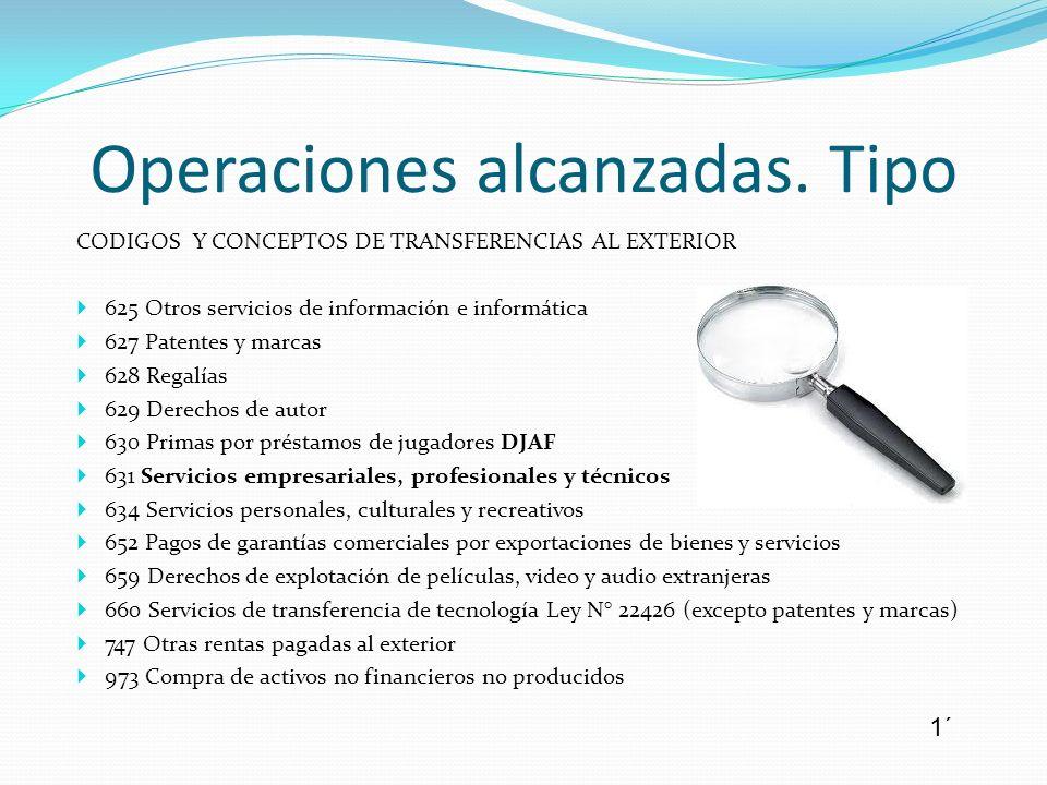 CODIGOS Y CONCEPTOS DE TRANSFERENCIAS AL EXTERIOR 625 Otros servicios de información e informática 627 Patentes y marcas 628 Regalías 629 Derechos de