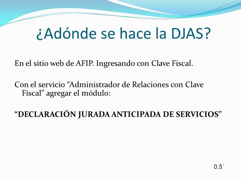 En el sitio web de AFIP. Ingresando con Clave Fiscal. Con el servicio Administrador de Relaciones con Clave Fiscal agregar el módulo: DECLARACIÓN JURA