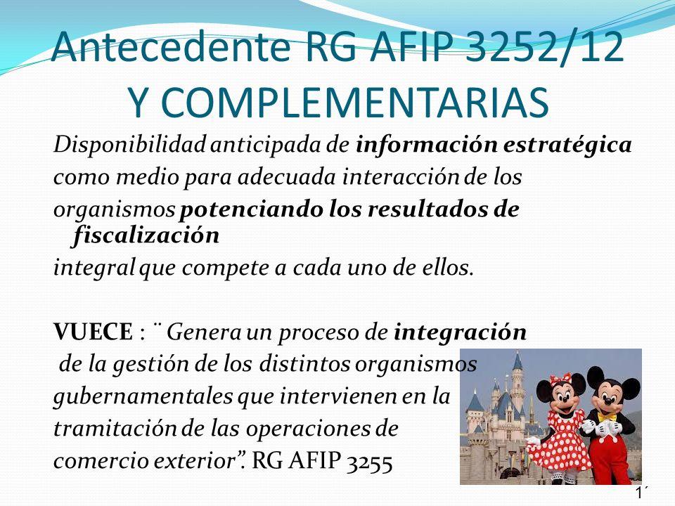 Antecedente RG AFIP 3252/12 Y COMPLEMENTARIAS Disponibilidad anticipada de información estratégica como medio para adecuada interacción de los organis