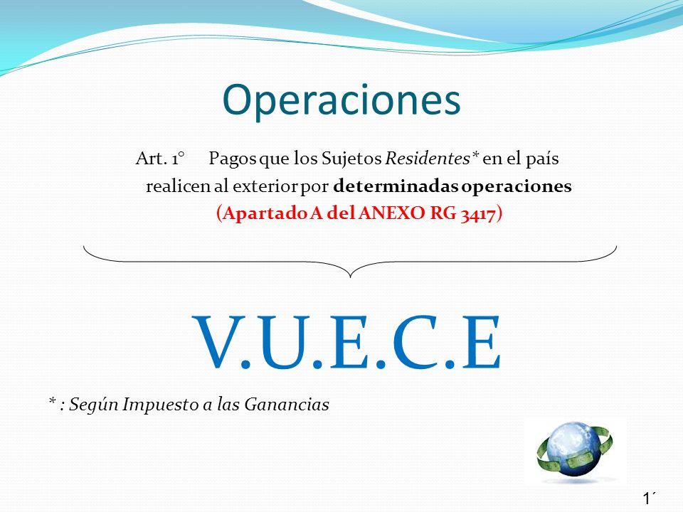 Operaciones Art. 1° Pagos que los Sujetos Residentes* en el país realicen al exterior por determinadas operaciones (Apartado A del ANEXO RG 3417) V.U.