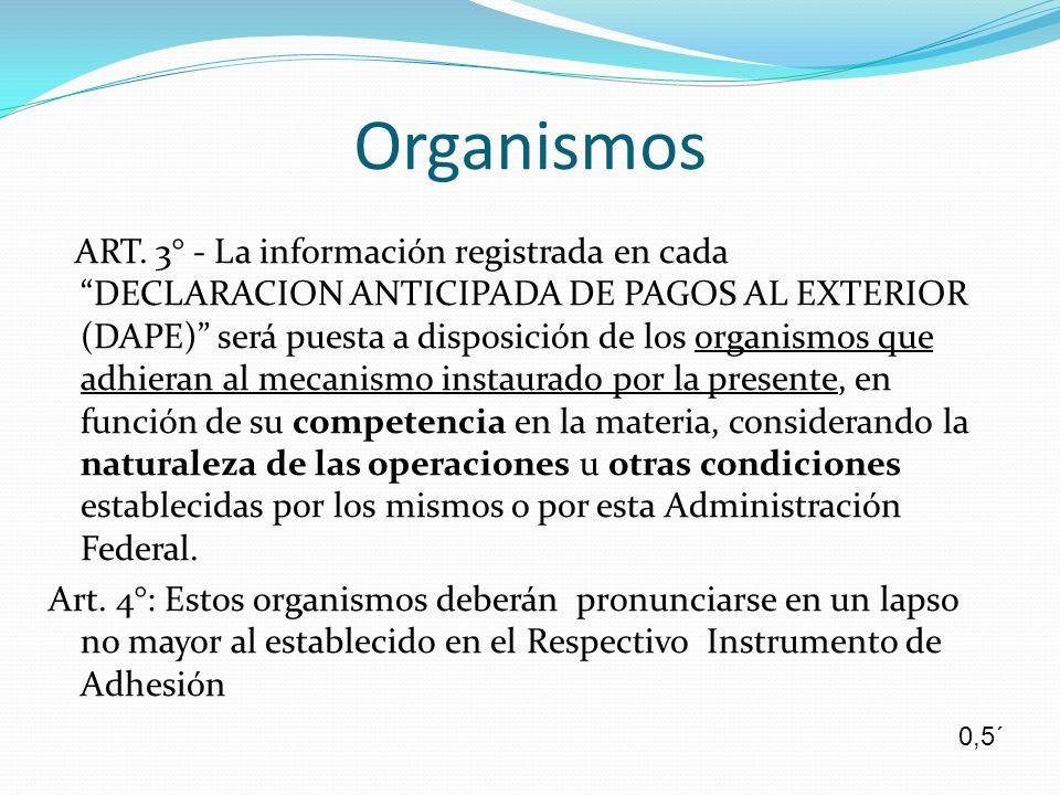 Organismos ART. 3° - La información registrada en cada DECLARACION ANTICIPADA DE PAGOS AL EXTERIOR (DAPE) será puesta a disposición de los organismos