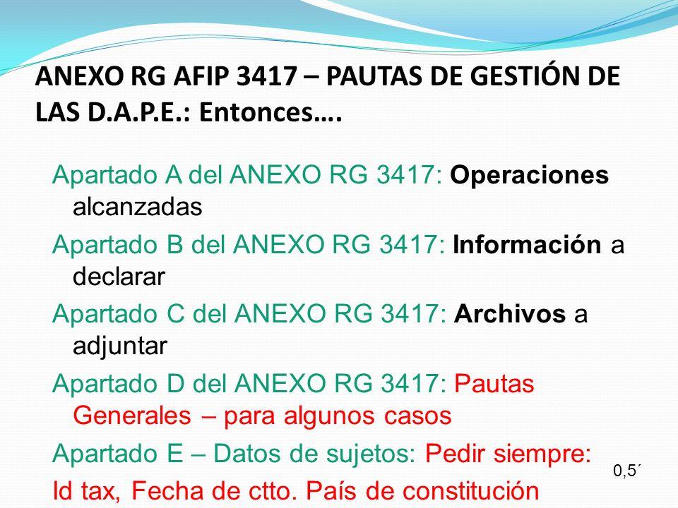 ANEXO RG AFIP 3417 – PAUTAS DE GESTIÓN DE LAS D.A.P.E.: Entonces…. Apartado A del ANEXO RG 3417: Operaciones alcanzadas Apartado B del ANEXO RG 3417: