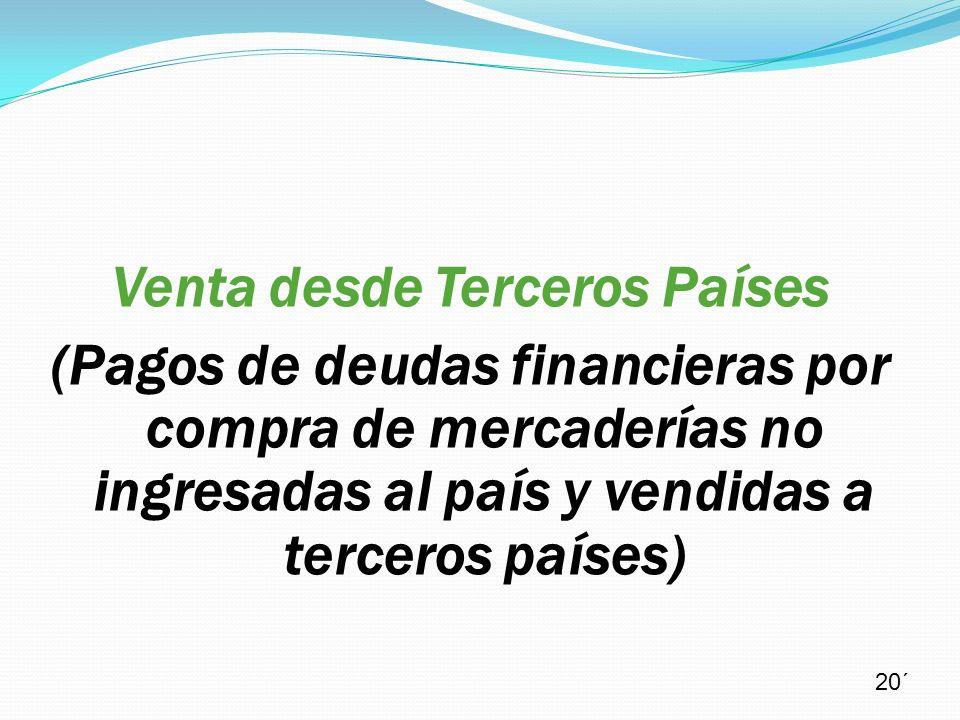 Venta desde Terceros Países (Pagos de deudas financieras por compra de mercaderías no ingresadas al país y vendidas a terceros países) 20´