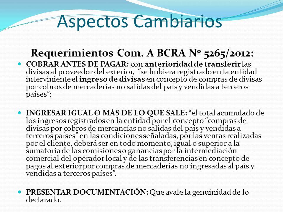 Aspectos Cambiarios Requerimientos Com. A BCRA Nº 5265/2012: COBRAR ANTES DE PAGAR: con anterioridad de transferir las divisas al proveedor del exteri