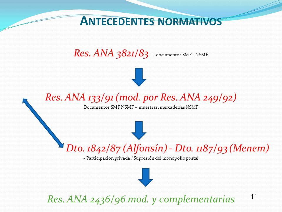 Res. ANA 3821/83 - documentos SMF - NSMF Res. ANA 133/91 (mod. por Res. ANA 249/92) Documentos SMF NSMF + muestras, mercaderías NSMF Dto. 1842/87 (Alf