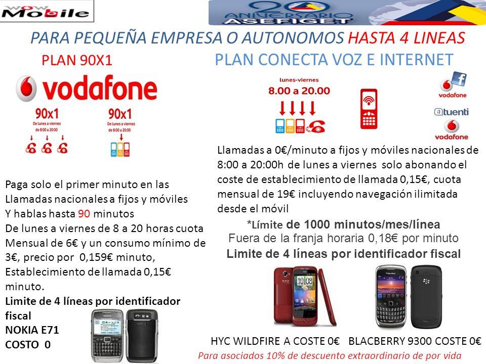 TarifasPlan Todo en UnoPlan Todo en Uno 30Plan Todo en Uno 50 Plan Todo en Uno Móvil (5) Tarifa Plana (1) 15 15/mes5/mes* Consumo mínimo en línea0305010 (2) Número Fijo (3)555NA Llamadas a móvil a cualquier operador (4) 0.15/min0,12/min0,10/min0.15/min PROMOCIONES Ahora Vodafone le ofrece nuevos descuentos a todos nuestros clientes nuevos que permitirán tener un ahorro especial en su factura, a continuación podrá ver los descuentos que se le aplicarán en su factura dependiendo del nivel de facturación mensual que tenga: Todos los descuentos serán aplicables durante 18 meses.