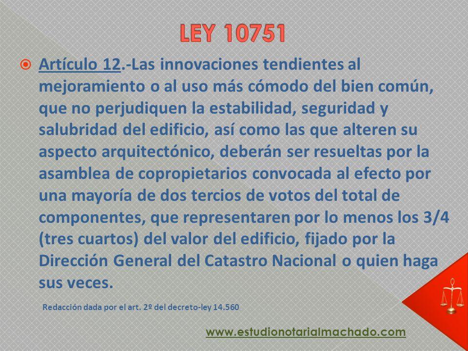 Artículo 12.-Las innovaciones tendientes al mejoramiento o al uso más cómodo del bien común, que no perjudiquen la estabilidad, seguridad y salubridad