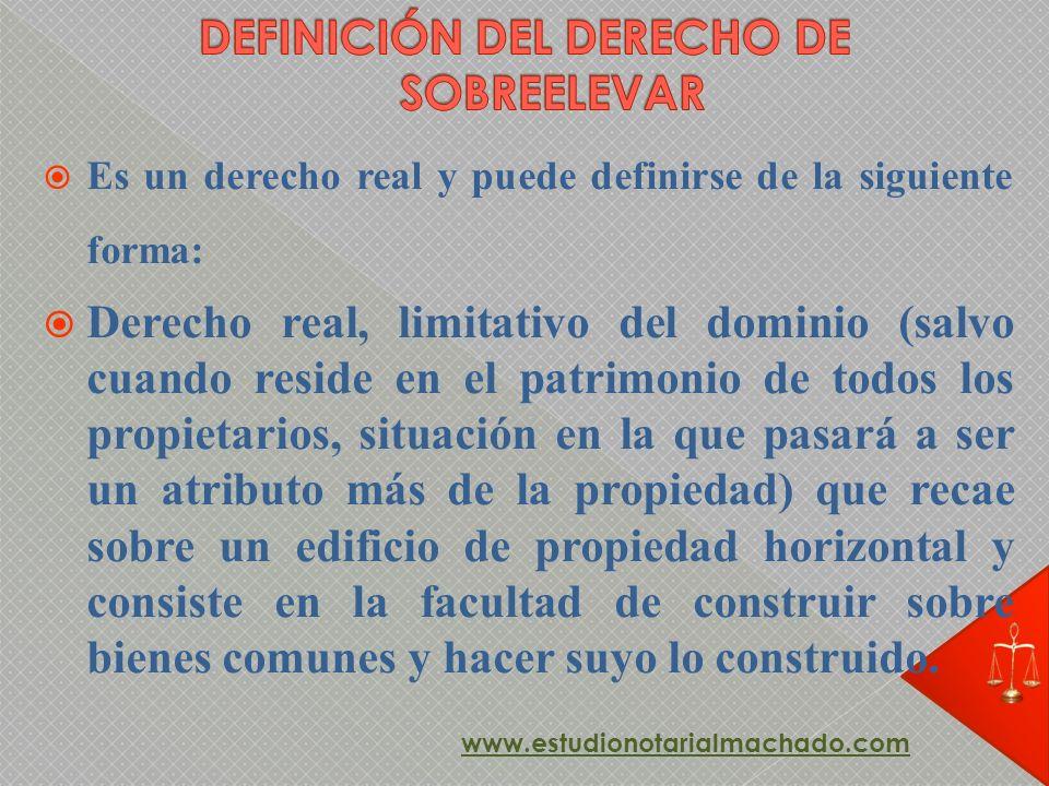 Es un derecho real y puede definirse de la siguiente forma: Derecho real, limitativo del dominio (salvo cuando reside en el patrimonio de todos los pr