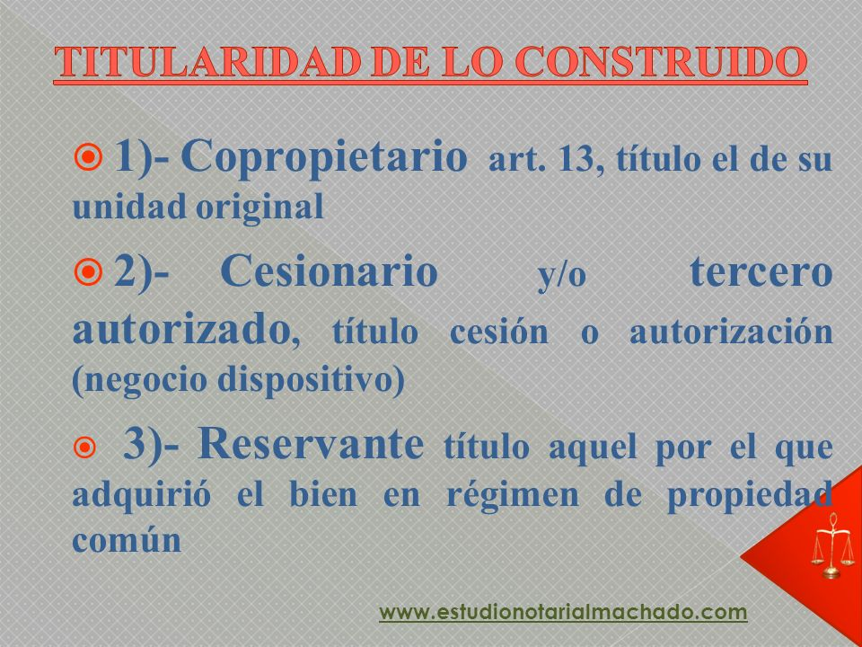 1)- Copropietario art. 13, título el de su unidad original 2)- Cesionario y/o tercero autorizado, título cesión o autorización (negocio dispositivo) 3