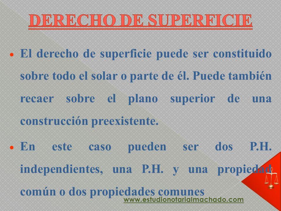 El derecho de superficie puede ser constituido sobre todo el solar o parte de él. Puede también recaer sobre el plano superior de una construcción pre