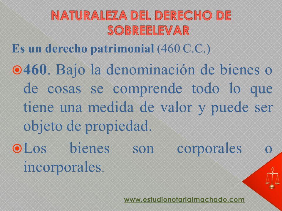 Es un derecho patrimonial (460 C.C.) 460. Bajo la denominación de bienes o de cosas se comprende todo lo que tiene una medida de valor y puede ser obj
