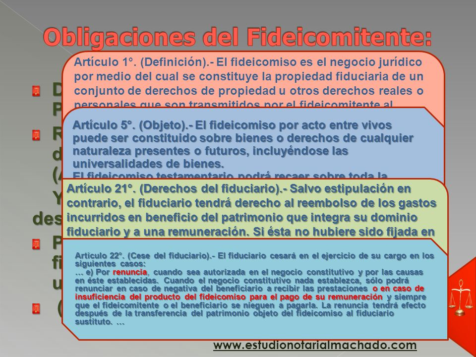 PG FideicomitenteFiduciario obligación www.estudionotarialmachado.com