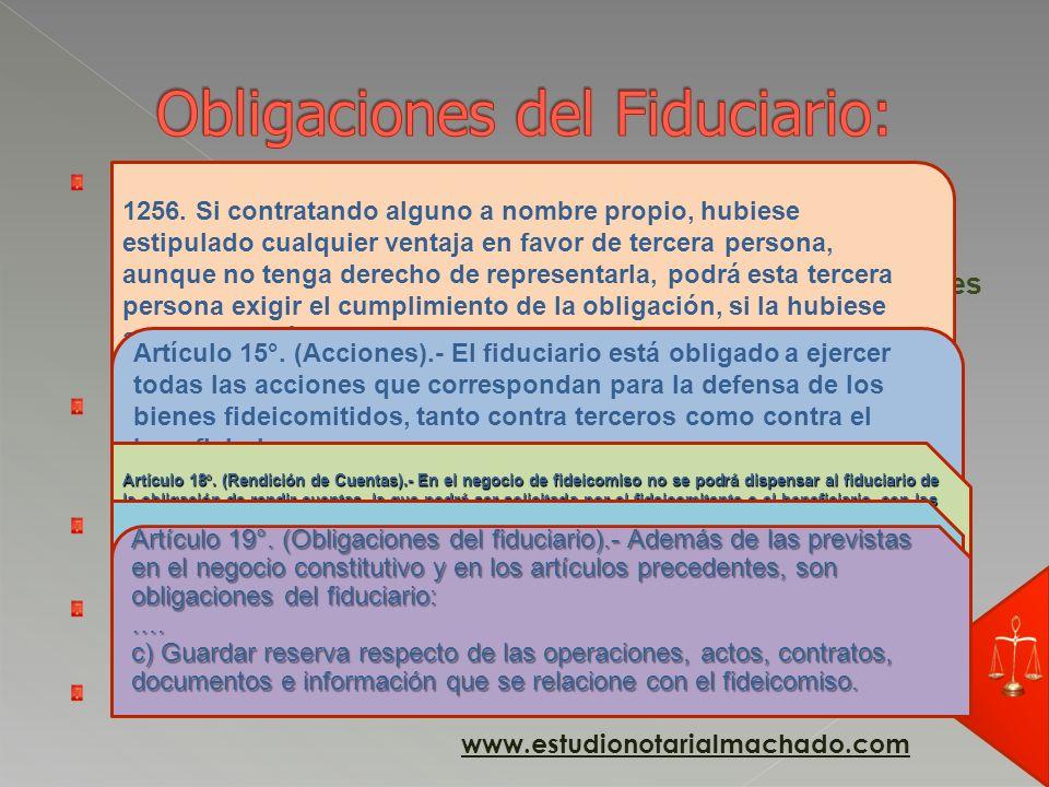 De transferir la propiedad, destino Patrimonio Fiduciario. (artículo 1) Remunerar al fiduciario salvo pacto expreso de gratuidad, destino Patrimonio G