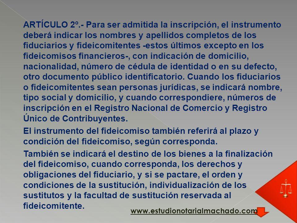 se inscribirán a los efectos dispuestos por el artículo 17º de la Ley que se reglamenta, en el Registro de Actos Personales Sección Universalidades de