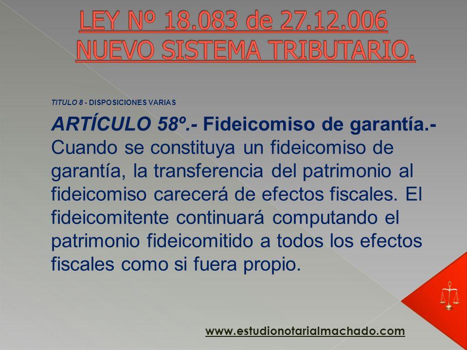 Artículo 42°. (Fideicomisos de garantía).- Exonérase del Impuesto a las Transmisiones Patrimoniales a las transmisiones de bienes gravadas realizadas