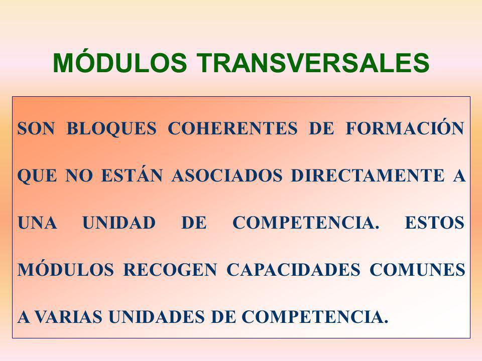 MÓDULOS TRANSVERSALES SON BLOQUES COHERENTES DE FORMACIÓN QUE NO ESTÁN ASOCIADOS DIRECTAMENTE A UNA UNIDAD DE COMPETENCIA. ESTOS MÓDULOS RECOGEN CAPAC