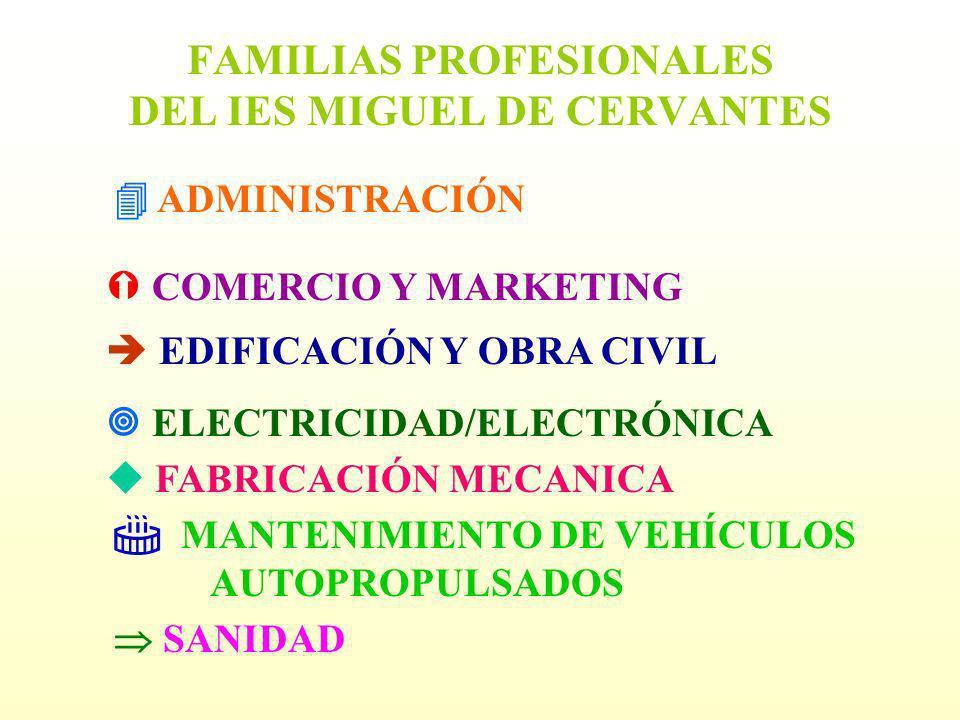 FAMILIAS PROFESIONALES DEL IES MIGUEL DE CERVANTES ADMINISTRACIÓN COMERCIO Y MARKETING EDIFICACIÓN Y OBRA CIVIL ELECTRICIDAD/ELECTRÓNICA FABRICACIÓN M