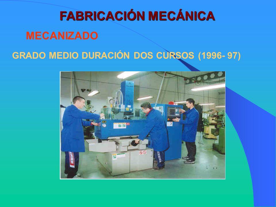 FABRICACIÓN MECÁNICA MECANIZADO GRADO MEDIO DURACIÓN DOS CURSOS (1996- 97)