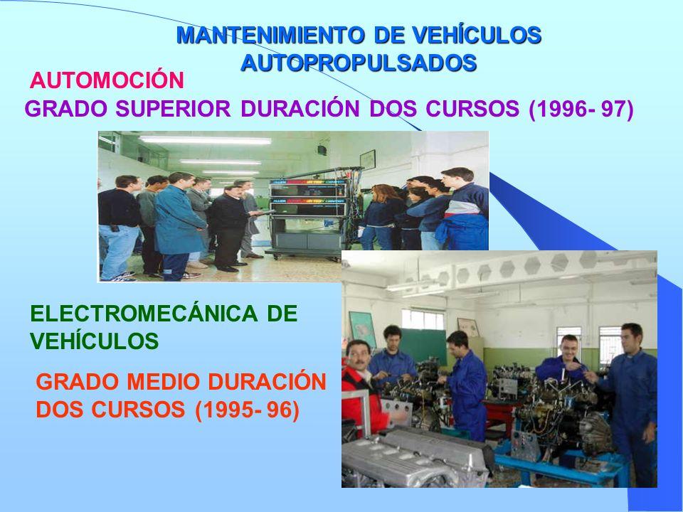 MANTENIMIENTO DE VEHÍCULOS AUTOPROPULSADOS AUTOMOCIÓN GRADO SUPERIOR DURACIÓN DOS CURSOS (1996- 97) ELECTROMECÁNICA DE VEHÍCULOS GRADO MEDIO DURACIÓN