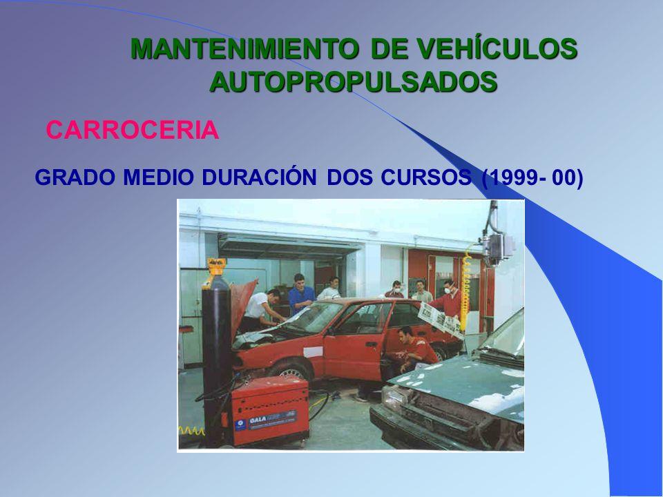 MANTENIMIENTO DE VEHÍCULOS AUTOPROPULSADOS CARROCERIA GRADO MEDIO DURACIÓN DOS CURSOS (1999- 00)