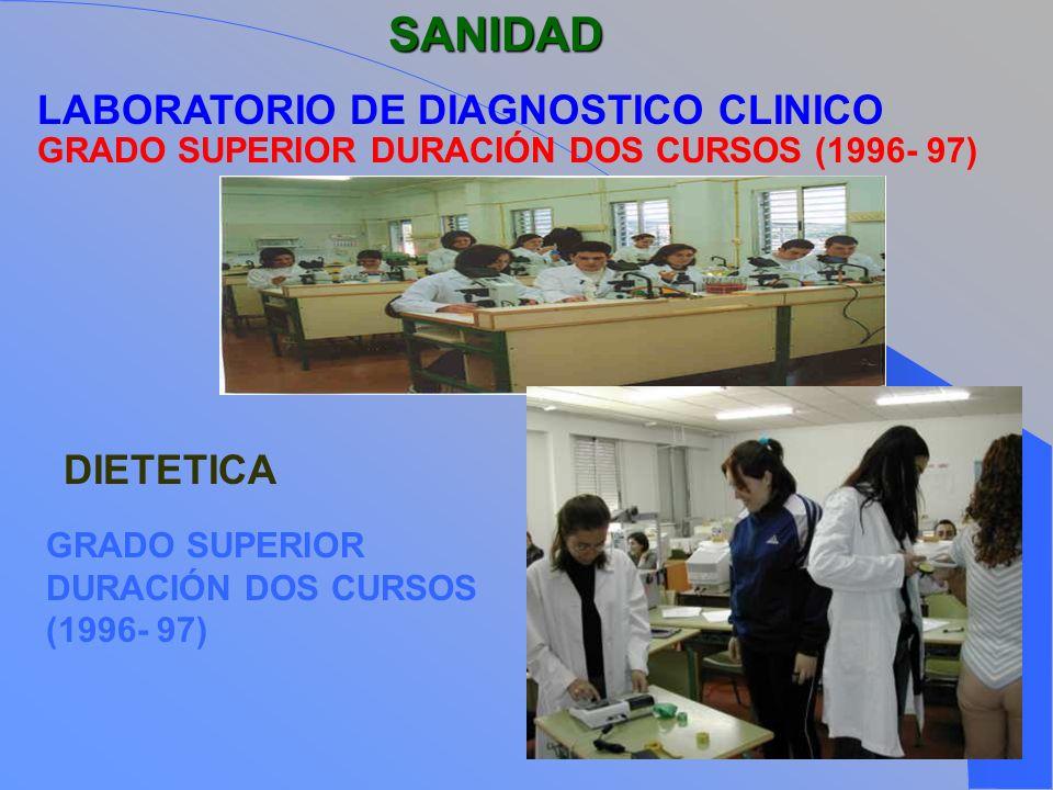 SANIDAD LABORATORIO DE DIAGNOSTICO CLINICO GRADO SUPERIOR DURACIÓN DOS CURSOS (1996- 97) DIETETICA GRADO SUPERIOR DURACIÓN DOS CURSOS (1996- 97)
