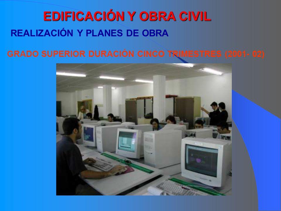 EDIFICACIÓN Y OBRA CIVIL REALIZACIÓN Y PLANES DE OBRA GRADO SUPERIOR DURACIÓN CINCO TRIMESTRES (2001- 02)