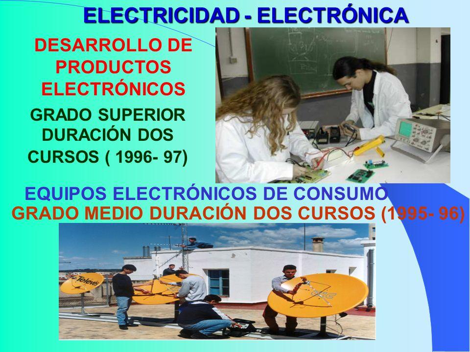 ELECTRICIDAD - ELECTRÓNICA DESARROLLO DE PRODUCTOS ELECTRÓNICOS GRADO SUPERIOR DURACIÓN DOS CURSOS ( 1996- 97 ) EQUIPOS ELECTRÓNICOS DE CONSUMO GRADO