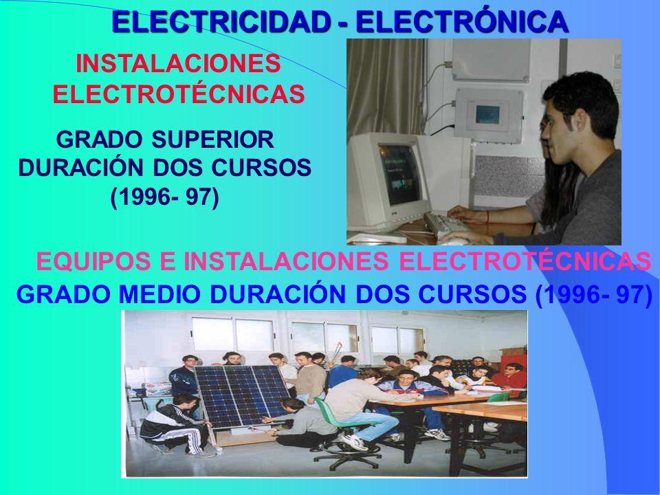 ELECTRICIDAD - ELECTRÓNICA INSTALACIONES ELECTROTÉCNICAS GRADO SUPERIOR DURACIÓN DOS CURSOS (1996- 97) EQUIPOS E INSTALACIONES ELECTROTÉCNICAS GRADO M