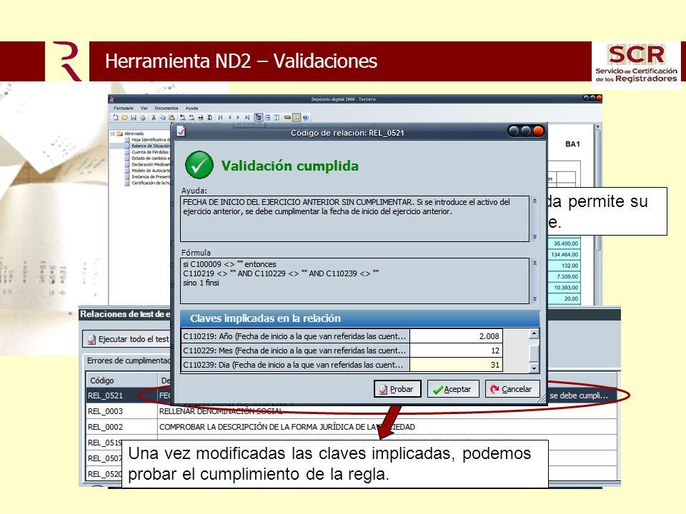 Doble click sobre la validación incumplida permite su corrección directa en ventana emergente.
